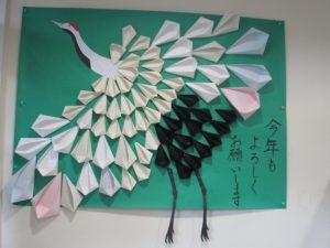花と鶴の壁飾り♪【デイサービスセンター七瀬】